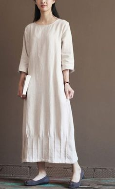Nude Linen Spring Dress 2016 New Linen Maxi Dresses Plus Size Linen Clothes - Everything you are looking Casual Summer Dresses, Spring Dresses, Trendy Dresses, Dress Summer, Dress Casual, Summer Sundresses, Resort Dresses, Summer Skirts, Outfit Summer