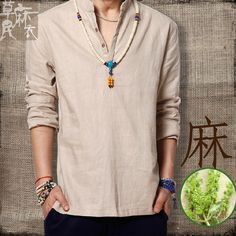 shirt with lace collar on sale at reasonable prices, buy 2014 summer male casual linen shirts chinese style coarse hemp shirt vintage fluid pullover shirt from mobile site on Aliexpress Now! Spirit Clothing, Gents Kurta, Hippie Outfits, Chinese Style, Traditional Chinese, Henley Shirts, Boho Fashion, Male Fashion, Linnet