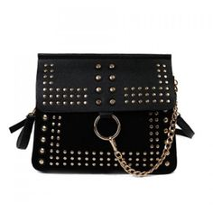Covered Closure Dome Stud Metal Ring Crossbody Bag ($24) ❤ liked on Polyvore featuring bags, handbags, shoulder bags, crossbody shoulder bags, metal purse, studded purse, dome shaped handbags and studded shoulder bag