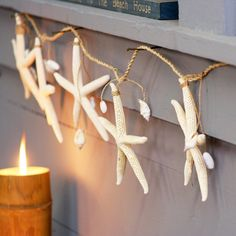 Seashell Garland. Made with real starfish, assorted shells, and rope