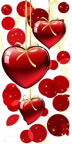 Red Hanging Hearts and Dots Decor PNG Clipart