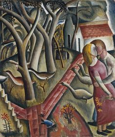 """The figures represent artist David Jones & Petra Gill, marking their engagement in June 1924, when Petra was not quite 18. The title """"The Garden Enclosed"""" alludes to Song of Songs 4:12. An enclosed garden is also frequently used as a symbol for the virginity of the Virgin Mary. The geese, sacred to the classical goddess Juno and associated with young girls, flee from the embracing couple, alarmed by their passion. The doll on the ground may symbolise lost childhood."""
