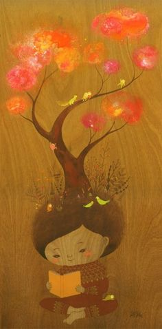 """Apak    """"Reading is Magical""""    Gouache on wood"""
