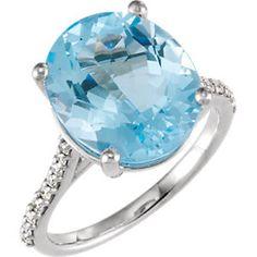 14kt White Sky Blue Topaz & 1/4 CTW Diamond Ring