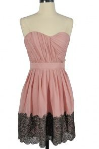 Coming Up Roses Pink and Black Chiffon Designer Dress by Minuet