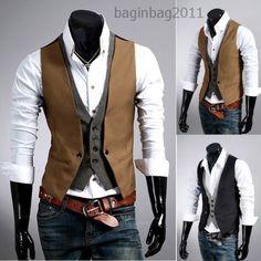 Herren V-Neck Weste Clubwear Hochzeit Anzug Jacke Hemd Sakko Vest 4 Farben Neu