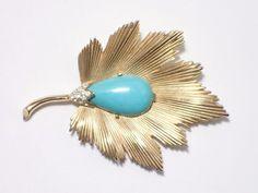 Vintage Signed Trifari gold tone leaf brooch with faux turquoise cabochon AB453 #Trifari