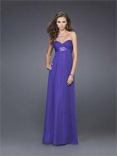 A-line Strapless Empire Waist Floor Length Chiffon with Satin Belt Prom Dress PD10906