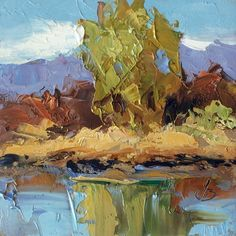MINIATURE LANDSCAPE OIL PAINTING by TOM BROWN -- Tom Brown