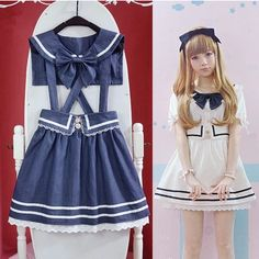 Sailor Collar + Revers Navy Skirt, School Uniform Style, Sailor collar and the straps can be take off :D  Material: Jean  One size: Strap skirt length 76,78,80 cm, Skirt Length 42 cm, Waist 62--88 cm