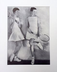 1950s Tennis Vogue Clipping Mounted Ready to Frame : British Vogue June 1956 by onceavogue on Etsy