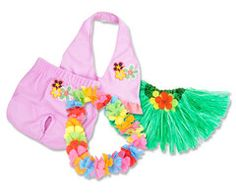 Your posh little hula girl can walk the beach in style wearing this adorable Hawaiian Beach 4-Piece Set. The bubblegum pink bikini features adorable screen-printed flowers in flamingo pink, canary yellow, olive and magenta. The grass skirt features a satin covered elastic waistband and matches the lei perfectly by featuring three pretty flowers.       Small 0-10 lbs     Medium 10-18 lbs     Large 18-25 lbs