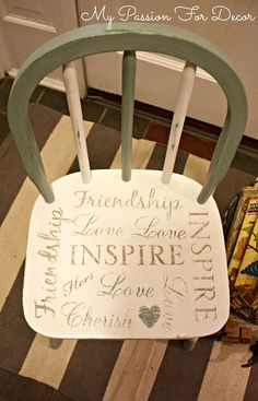 My Passion For Decor -painted chair with stencils. #DIY