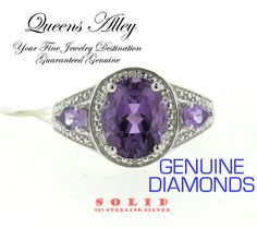 Genuine 2.76ct Amethyst 0.04ct True Diamond .925 Solid Sterling Silver Cocktail Ring. Starting at $1
