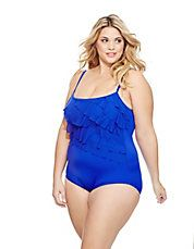 Brands   Plus-Size   Plus Cool Water Ruffle One-Piece   Lord and Taylor