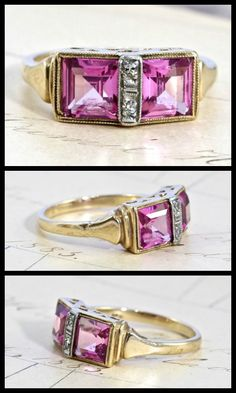 Art Deco pink spinel and diamond ring in gold, circa 1930.