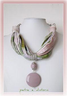 pietre e dintorni: fettuccia con ciondolo rosa antico