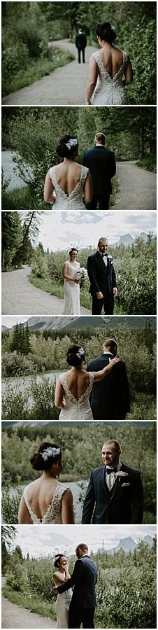 First look. Wedding first look. Bride and groom. First look in Canmore. Mountain wedding first look. Weddings in Canmore. Mountain weddings in Canmore. Quarry Lake, Theatre Wedding, Wedding First Look, Mountain Weddings, Lake Park, Before Wedding, Banff, Mountain View, Wedding Ceremony