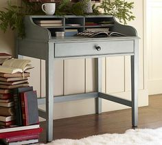 Jacqueline Bedside Table from Pottery barn, secretary-desk-style (love the gray-blue color!)