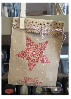 Stampin' Up Polka Dot Tag A Bag Gift Bags and Bright and Beautiful stamp set from the Holiday Catalog