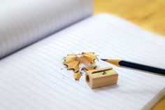 pencil sharpener and shavings on note paper