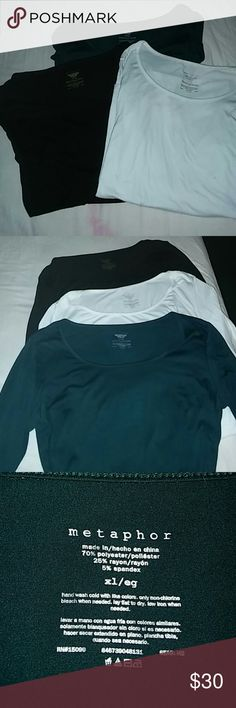 Long sleeve tee shirt bundle XL Nice EXCELLENT Condition Metaphor long sleeve tee shirt material shirts 3 different colors green blue and white Metaphor Tops Tees - Long Sleeve