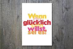 Poster Glücklichsein // poster luck by Ohkimiko via DaWanda.com