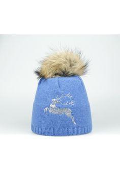 Steffner Mütze mit Echtpelz & Strass blau Trachteria