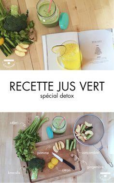 Retrouvez la recette d'un jus vert detox, rafraîchissant et délicieux ! Bourré de minéraux, oligo-éléments et chlorophylle, il nettoie le corps des toxines.