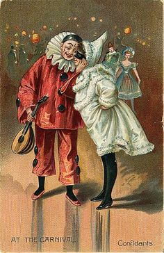 A clown with mandolin and female partner in cloak and mask enjoy a joke together. Late Victorian Framed Print Framed, Poster, Canvas Prints, Puzzles, Photo Gifts and Wall Art Cirque Vintage, Vintage Circus, Circus Poster, Circus Art, Fine Art Prints, Framed Prints, Canvas Prints, Vintage Postcards, Vintage Images