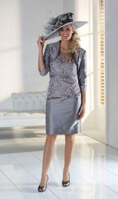 Mascara Charcoal Dress With Lace bodice and Matching Bolero SIZES 8 to 28…