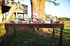 dessert table | Vintage Backyard Wedding Reception | Rekindled Vintage Rentals | Heart Love Weddings
