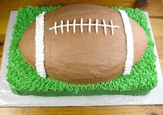 Football Cake Recipe - for the birthday boy - came out really cute but need to figure out how to not overcook the edges of the football