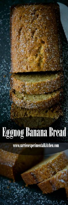 Combine the flavors of the season with this Eggnog Banana Bread made with bananas, eggnog and nutmeg. Make into mini loaves for gift giving too! #eggnog #bananas #loafbread #holidaybaking #dessert #breakfast