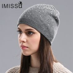 IMISSU Winter Women's Winter Hats Knitted Wool Casual Mask Cap with Crystal Solid Color Ski Gorros Outdoor Hat for Girls