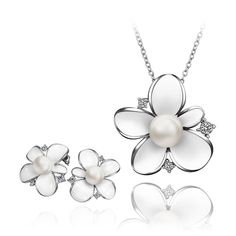Wedding Gifts White Enamel Plum Blossom Flower Stud Earrings and Pendant Necklace Jewelry Set