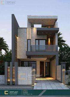Modern Small House Design, Modern Exterior House Designs, Modern House Facades, Modern Architecture House, Cool House Designs, Small Modern House Plans, Narrow House Designs, Modern Minimalist House, Minimalist Design