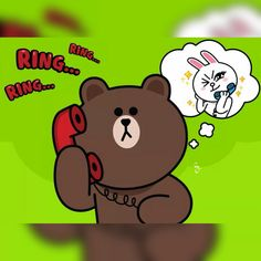 Want to talk to you Bunny And Bear, My Teddy Bear, Cony Brown, Brown Bear, Jacob And Rachel, Cute Drawings Of Love, Bear Gif, Cute Couple Cartoon, Brown Line
