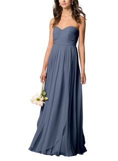 Take a look at this gorgeous Jenny Yoo Mira bridesmaid dress in slate blue fabric! Available in sizes 0-32 and tons of colors at Brideside. Shop online, try at home or visit one of our showrooms!