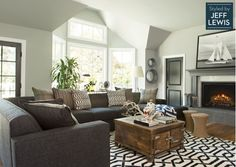 Gorgeous living room with patterned area rug