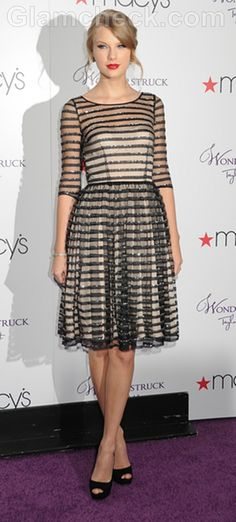 Taylor Swift Flirty in Black and White Striped Dress