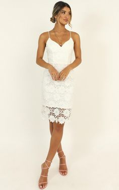 Complete your look with the Ive Arrived Dress In White Lace from Showpo! Buy now, wear tomorrow with easy returns available. Shower Dress For Bride, Bridal Shower Outfits, White Bridal Shower Dress, Rehearsal Dinner Outfits, Wedding Rehearsal Outfit, White Rehearsal Dinner Dress, Courthouse Wedding Dress, Elopement Dress, Little White Dresses