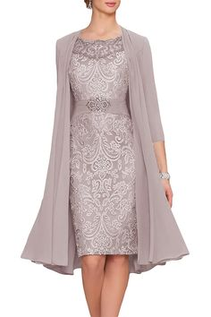 Cute Grey Chiffon Mother Of The Bride Dresses Tea Length Two Pieces With Jacket