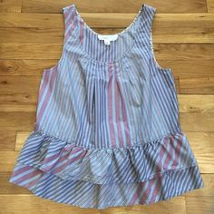 Striped ruffled tank top from anthro size med Cute 100% cotton striped tank top from anthropology with double ruffle hem. Worn 2-3 times. In great condition. Brand is Lilka Anthropologie Tops Tank Tops