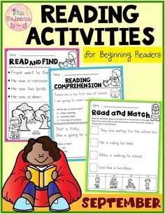 September Reading Activities is suitable for kindergarten through first grade students. These worksheets are a great way to sharpen the reading skills with many activities. These pages can be used for morning work, literacy centers, and writing center. Kindergarten | Kindergarten Worksheets | First Grade  | Reading Activities | Reading Skills | Read and Match | Reading Comprehension Read and Draw | Questions and Answers | Fall Reading Activities | Back to School | Morning Work