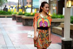 Top and skirt #looks #prints #color