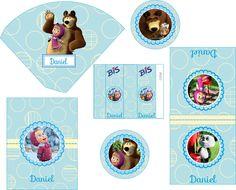 Kit Digital Masha e o Urso Meninos, para Imprimir em casa ou na gráfica de sua preferência. Orçamentos: yumecraft@hotmail.com