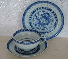 Rice Eyes Blue and White Dragon Tea Cup Saucer Dessert Under Plate ( ID 00B).,.,