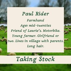 Taking Stock: Paul Rider  Paul's a good friend of Laurie's. He's in his 20s, he lives in the village with his mum and dad, he has a string of girlfriends and he rides a motorbike.  books2read.com/takingstocklester  #GayRomance #MMRomance #Disability #HurtComfort