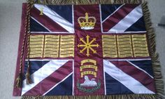 1st Battalion Coldstream Guards–Regimental Colours. Military Flags, Military Uniforms, World War One, British Army, Badges, Division, Soldiers, Castles, Red And Blue